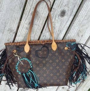 Fringed Louis Vuitton MM customized bag